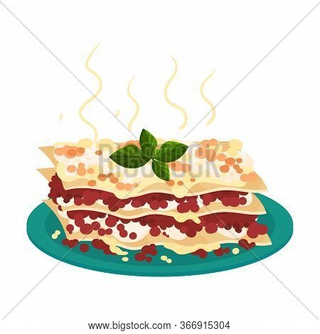Lasagne Served On Plate And Garnished With Kitchen Herb Vector Illustration