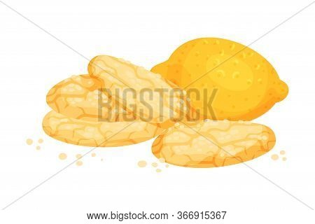 Crunchy Lemon Cookies With Lemon Fruit Rested Nearby Vector Illustration