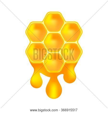 Honey Bee On Drops Isolated On White, Honey Drops And Honeycomb Symbol, Icon Honey Hexagon On Blob S