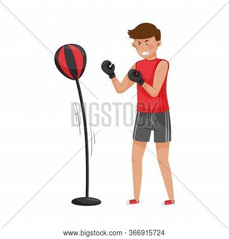 Angry Man Beating Punching Bag To Reduce Stress Vector Illustration