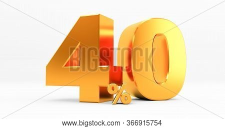 Golden Forty Percent On A White Background. Sale Of Special Offers. Discount With The Price Is 40%.