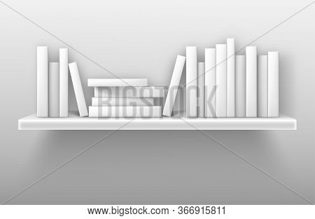 White Bookshelf Mockup, Books On Shelf In Library, Home, School Or Office Interior. Volumes With Bla