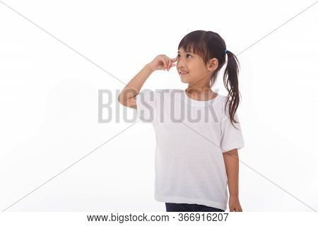 Portrait Of A Cute Little Girl Thinking Isolated On White