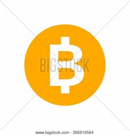 Currency Money Icon Isolated On White, Thb Coin Thailand For Flat Icon Style, Thai Token Money Baht