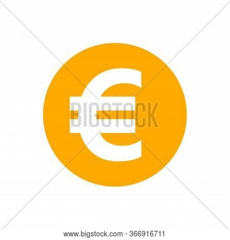 Euro Currency Coin Orange For Icon Isolated On White, Euro Money For App Symbol, Simple Flat Euro Mo