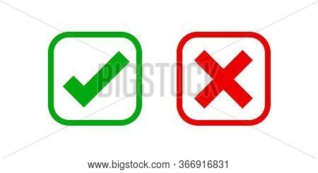 Checkmark And X Or Confirm And Deny Square Icon Button Flat For Apps And Websites Symbol, Icon Check