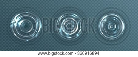 Water Ripple With Circle Waves Isolated On Transparent Background. Vector Realistic Concentric Rings