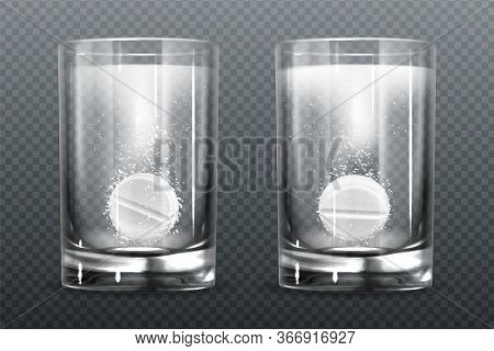 Effervescent Pills With Fizz Bubbles In Water Glass. Aspirin Tablets, Soluble Vitamin Or Headache Ph