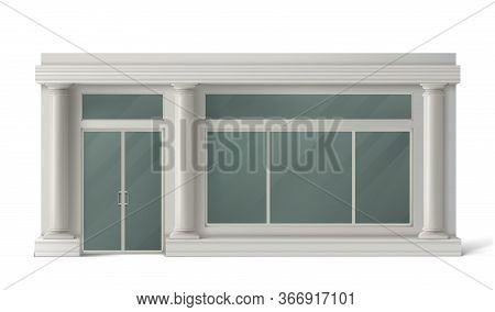 Store Front With Glass Door, Windows And White Stone Columns. Vector Realistic Mockup Of Building Fa