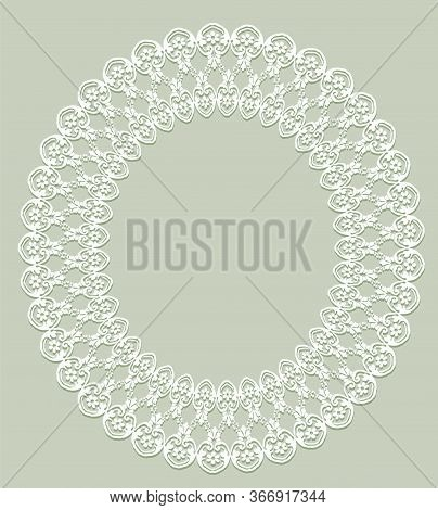 White Oval Openwork Frame On A Gray Background