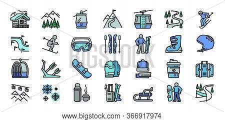 Ski Resort Icons Set. Outline Set Of Ski Resort Vector Icons For Web Design Isolated On White Backgr