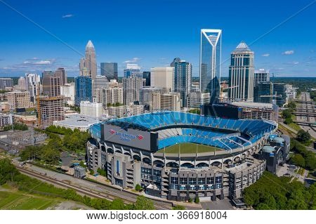 May 01, 2020 - Charlotte, North Carolina, USA: Bank of America Stadium is home to the NFL's Carolina Panthers in Charlotte, NC.