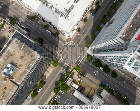April 23, 2020 - Raleigh, North Carolina, USA: Aerial view of a busy intersection in a urban city