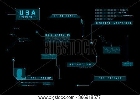 Hud Callout Ui Design Elements. Futuristic Blue Callout Titles. Layout Elements For Sci-fi Design, W
