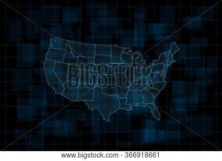 Hud Map Of The Usa. Futuristic Digital Dark Blue Background. Vector Illustration.