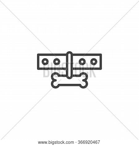 Collar With Dog Bone Line Icon. Linear Style Sign For Mobile Concept And Web Design. Dog-collar Outl
