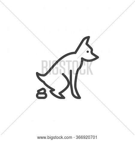 Pooping Dog Line Icon. Linear Style Sign For Mobile Concept And Web Design. Defecating Dog Outline V