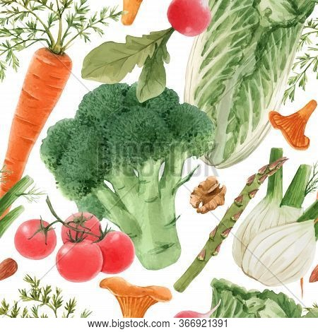Beautiful Vector Seamless Pattern With Watercolor Hand Drawn Vegetables. Stock Illustration. Healthy