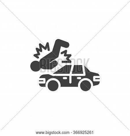 Pedestrian Accident Vector Icon. Filled Flat Sign For Mobile Concept And Web Design. Car Accident Gl