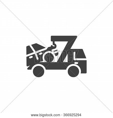 Car Towing Truck Vector Icon. Filled Flat Sign For Mobile Concept And Web Design. Auto Towing Glyph