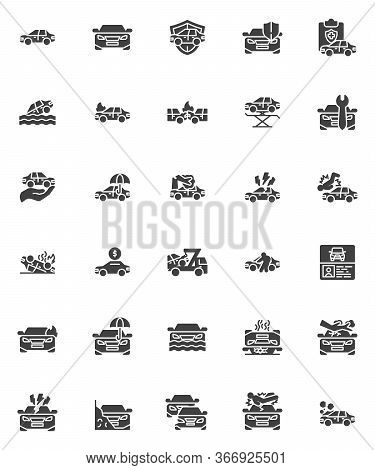 Car Insurance Vector Icons Set, Modern Solid Symbol Collection, Auto Accident Filled Style Pictogram