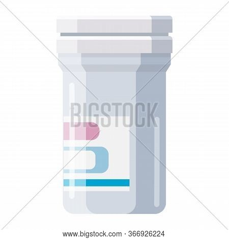 Pharmacy Of Plastic White Bottle With Cap For Medicine, Pills, Tabs, Drugs, Cosmetic, Sport, Syrup.