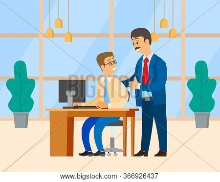 Office Worker And Boss Vector, Business Workplace Of Employer And Employee. People Working On Projec