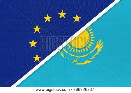 European Union Or Eu And Republic Of Kazakhstan National Flag From Textile. Symbol Of The Council Of
