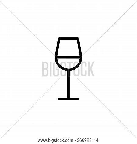 Icon Of Wine Glass. Beverage, Aperitif, Drink. Alcohol Concept. Can Be Used For Topics Like Celebrat