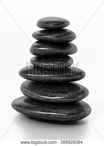 Black Balancing Stones Isolated On White Background. 3d Illustration