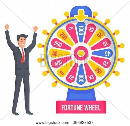 Happy Male Colorfull Rotating Lucky Lottery With Big Chance Of Succes Vector Illustration. Happy Smi