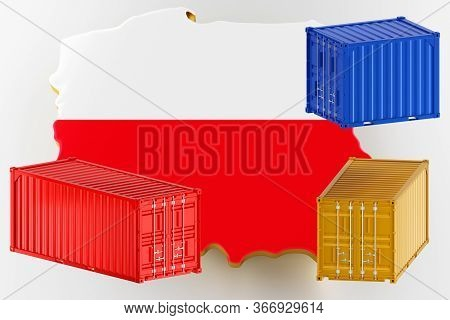 3d Map Of Poland. Freight Shipping In Containers. Export From The Country In Containers. 3d Renderin