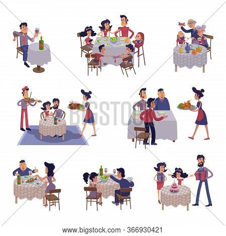 People At Table Flat Cartoon Illustrations Kit. Men And Women Having Dinner, Eating Together. Family
