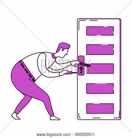 Handyman Fixing Door Knob Flat Silhouette Vector Illustration. Handyman Fixes Loose Handle. Craftsma