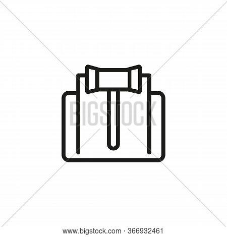 Line Icon Of Gavel With Paper. Court, Auction, Trial. Judgment Concept. Can Be Used For Topics Like