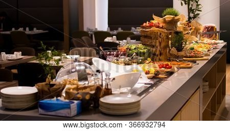 Sunday Brunch Menu With Salads, Meat, Cheese Cuts And Vegetables During Hotel Brunch Buffet Indoor R