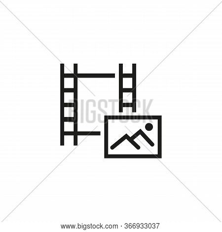 Icon Of Picture On Footage. Image, Shot, Filmstrip. Cinematography Concept. Can Be Used For Topics L