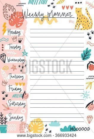Colorful Weekly Planner Template With Place For Text Vector Flat Illustration. Sheet With Daily Week
