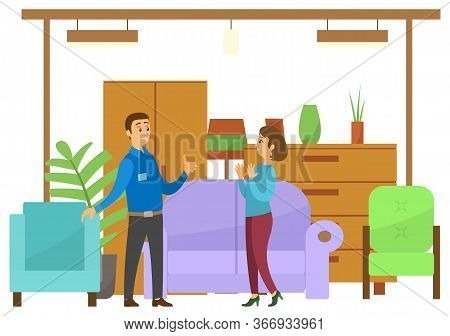 Woman In Furniture Store Looking. Shop Assistant Help Her. Wardrobe And Closet, Sofa And Armchairs,