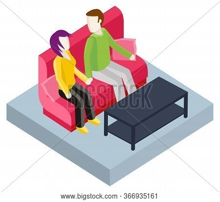 People Sitting On Sofa At Home, Isolated Couple Talking. Friends At Spare Time, Leisure Of Man And W