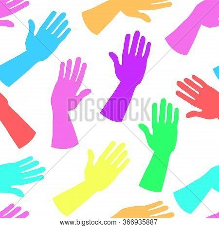 Seamless Pattern Of Bright Multi-colored Hands. Palms In A Greeting Or Giving Gesture. For Wrapping,