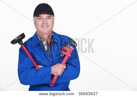 plumber ready to unclog a sink poster