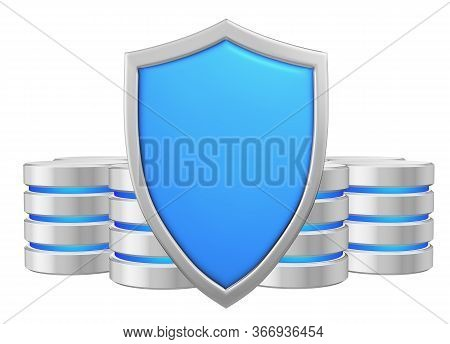 Databases Group Behind Blue Metal Shield Protected From Unauthorized Access, Data Protection Concept