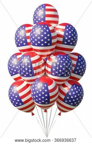 United States Of America Patriotic Balloons Painted With Usa Flag With Ribbons Isolated On White. 4t