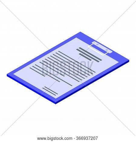 Oculist Clipboard Icon. Isometric Of Oculist Clipboard Vector Icon For Web Design Isolated On White