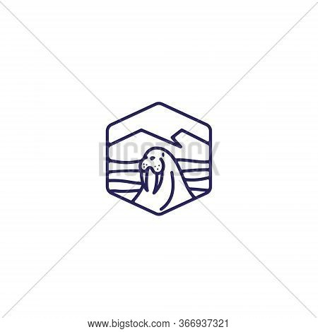 Walrus Logo Design . Simple Line Walrus Logo . Abstract Outdoor Logo Concept . Vector Illustration E
