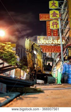 Bangkok, Thailand - September 17, 2016 : Backhoe Loaders Are Versatile Machines Used For Digging, Ex