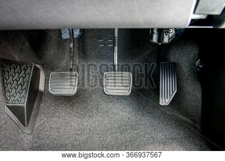 Accelerator, Brake Pedal And Clutch Pedal Of Manual Gear Car