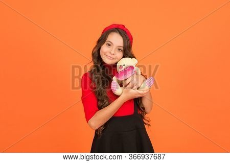 Cuddly Toy Is My Only Joy. Happy Child Cuddle Soft Toy. Little Girl Play With Teddy Bear. Toy Store.