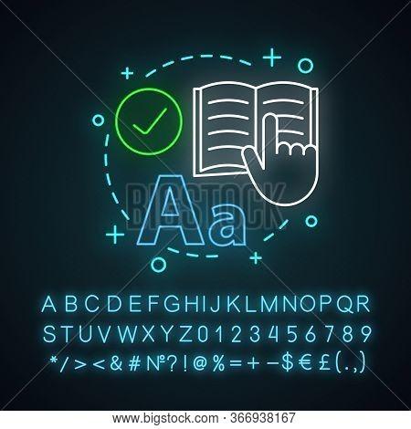 Reading Neon Light Concept Icon. Basic Language Skills Idea. Literacy. Literature. Learning Process.
